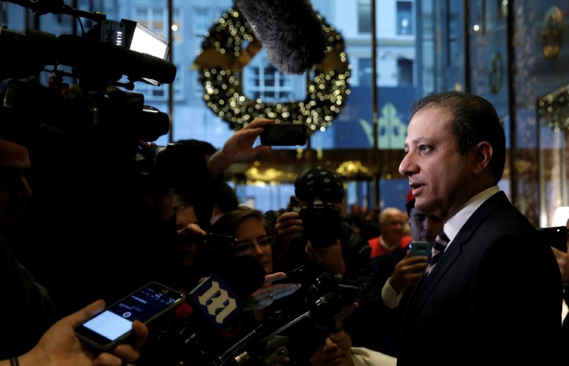 Preet Bharara speaks to members of the news media after meeting with Donald Trump at Trump Tower in New York