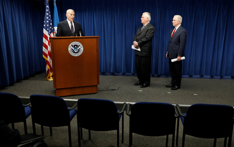 Homeland Security Secretary John Kelly, Secretary of State Rex Tillerson, and Attorney General Jeff Sessions, deliver remarks on issues related to visas and travel