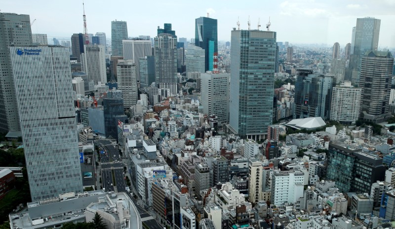 FILE PHOTO: Tokyo's Akasaka business district is seen in Tokyo