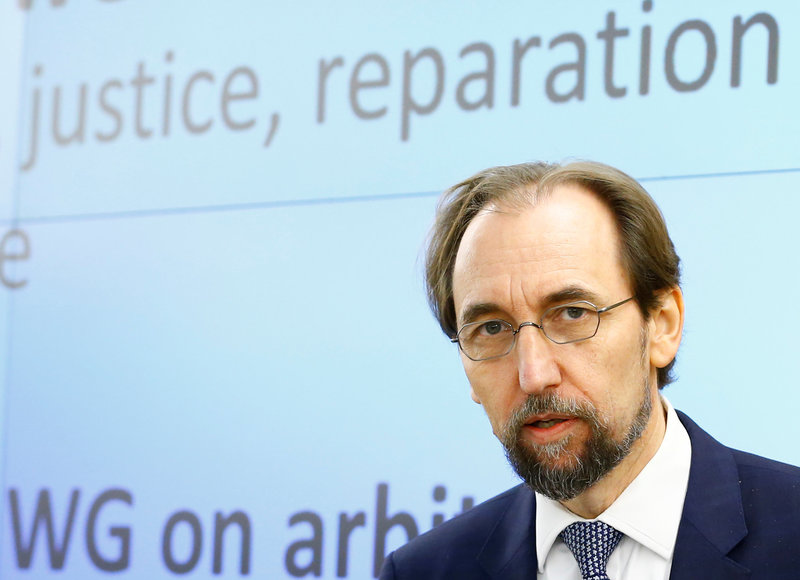 Zeid UN High Commissioner for Human Rights arrives at the 36th Sesssion of the Human Rights Council in Geneva
