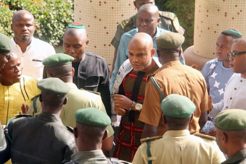 Nnamdi Kanu, leader of Indigenous People of Biafra is seen in a physical confrontation with prison warders, at the Federal High Court in Abuja