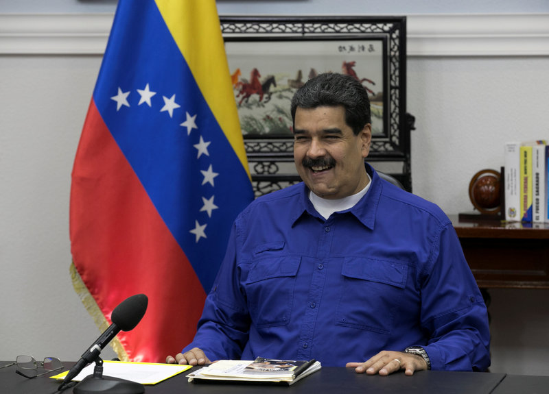 Venezuela's President Nicolas Maduro speaks during a meeting with ministers at Miraflores Palace in Caracas