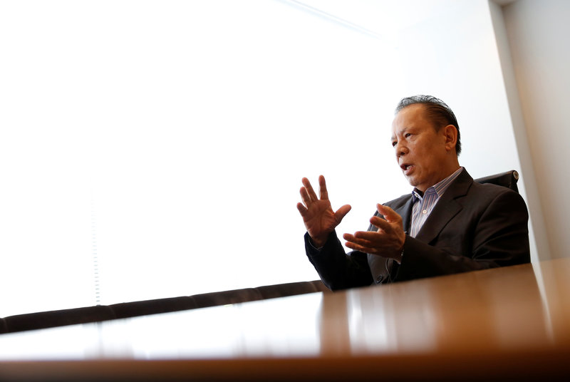 Universal Entertainment Corp's founder Kazuo Okada speaks during an interview with Reuters in Tokyo