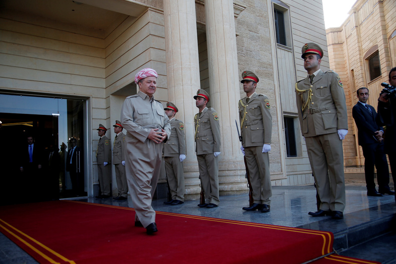 FILE PHOTO: Iraq's Kurdistan region's President Massoud Barzani waits to receive French Foreign Minister Jean-Yves le Drian and the French Defence Minister Florence Parly in Erbil