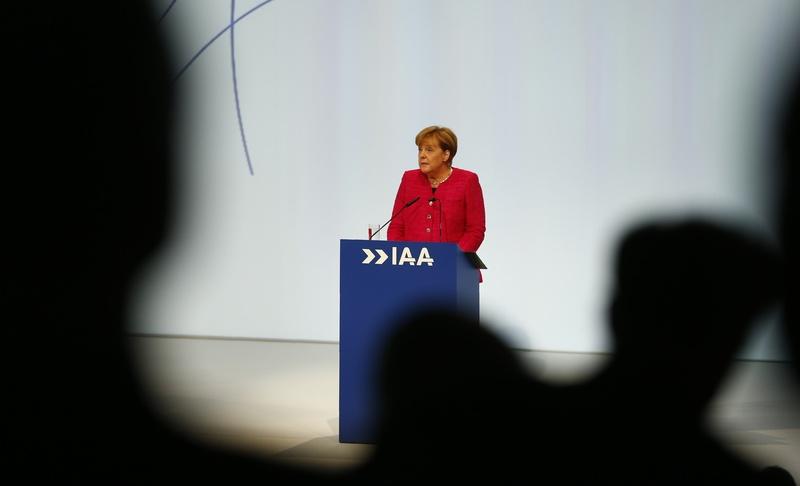 German chancellor Merkel speaks during the opening of the Frankfurt Motor Show