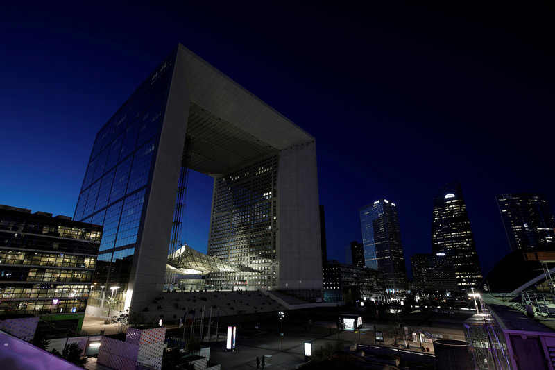 FILE PHOTO: The Grande Arche is seen at La Defense financial and business district near Paris