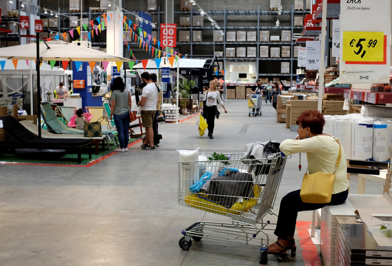 FILE PHOTO: A woman is seen in an Ikea shop in a mall in Rome