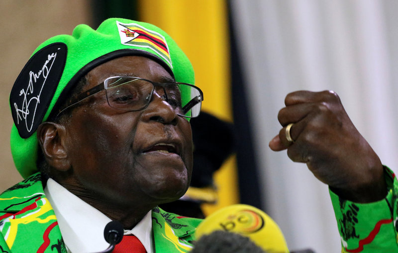 FILE PHOTO: Zimbabwean President Robert Mugabe addresses a meeting of his ruling ZANU PF party's youth league in Harare