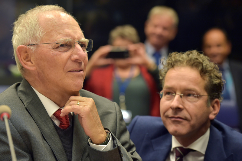 German Minister of Finance Schauble and Eurogroup President Dijsselbloem at the start of an euro zone finance ministers meeting in Luxembourg