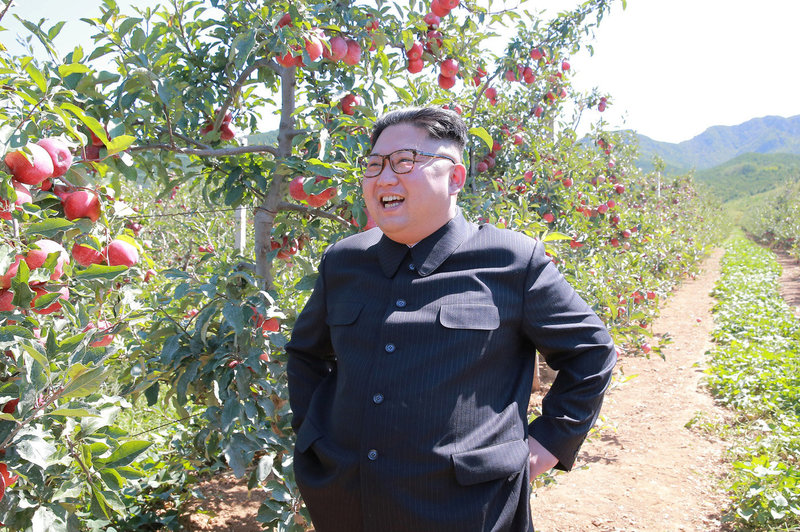 North Korean leader Kim Jong Un visits a fruit orchard in Kwail county, South Hwanghae province