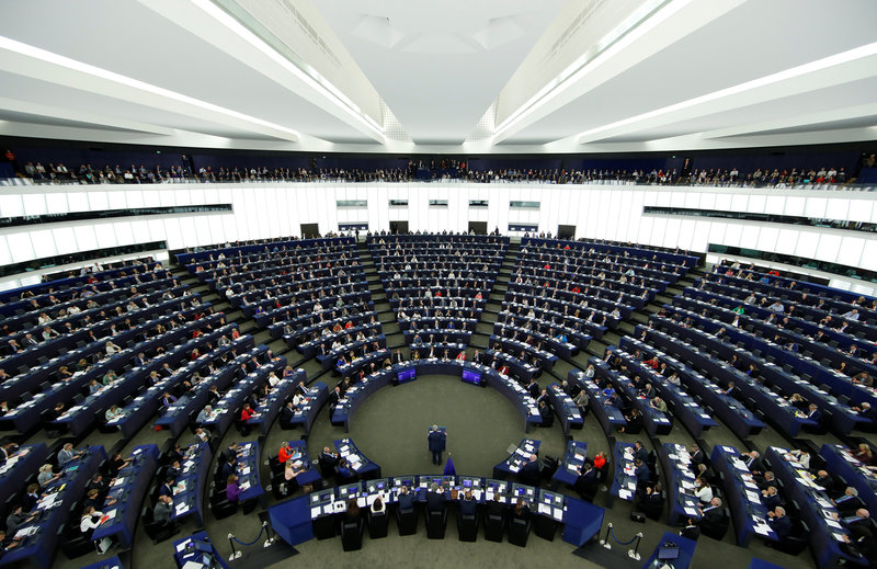 A general view shows the European Commission President Jean-Claude Juncker addressing the European Parliament during a debate on The State of the European Union in Strasbourg