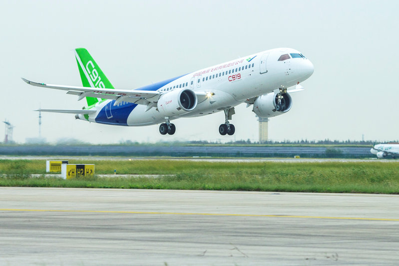 China's domestically developed C919 passenger jet takes off on its second test flight at Pudong International Airport in Shanghai