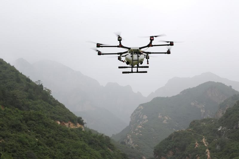 An aerosol drone during a training at LTFY drone training school on the outskirts of Beijing
