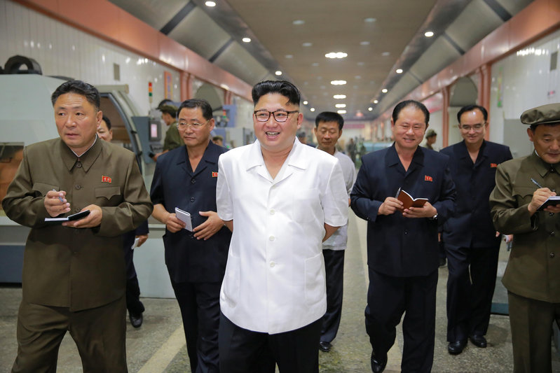North Korean leader Kim Jong-Un inspects the January 18 General Machine Plant in Pyongyang