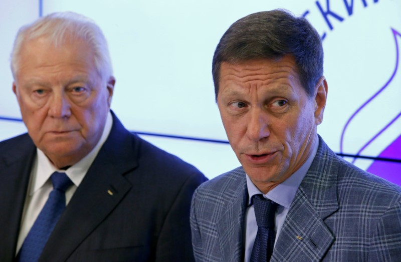 Russian Olympic Committee chief Zhukov and anti-doping commission head Smirnov attend a news conference following a meeting of the executive board of Russian Olympic Committee in Moscow