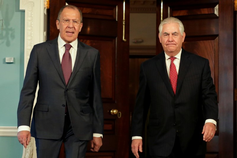 FILE PHOTO - U.S. Secretary of State Rex Tillerson meets with Russian Foreign Minister Sergey Lavrov in Washington