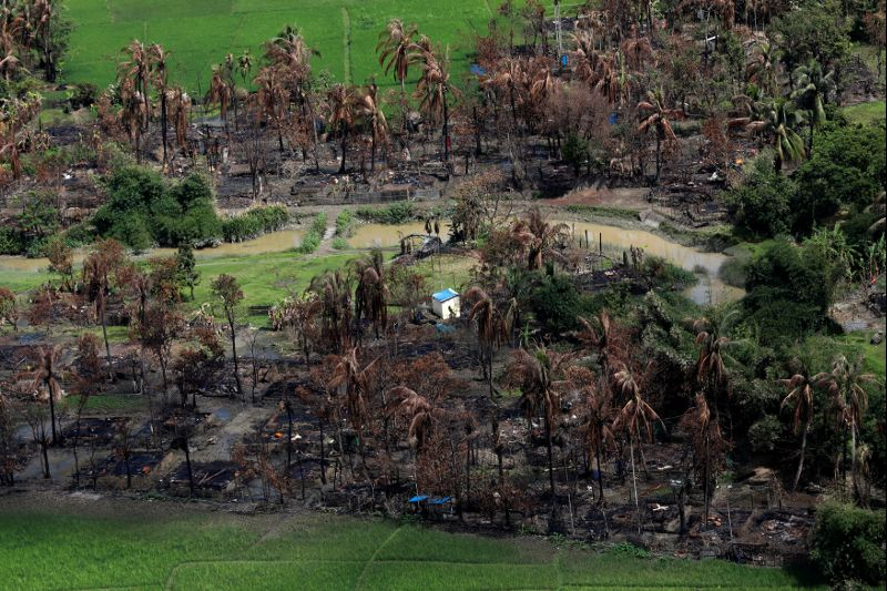 Aerial view of a burned Rohingya village near Maungdaw, north of Rakhine state, Myanmar