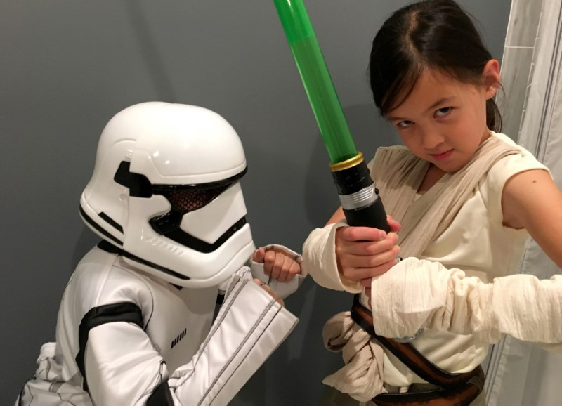 Abby, 9, poses in her Halloween costume as Star Wars' heroine Rey in Maplewood
