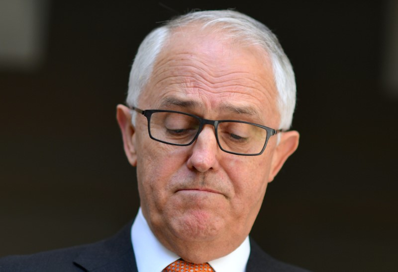 Australia's PM Malcolm Turnbull reacts during a media conference at Parliament House in Canberra