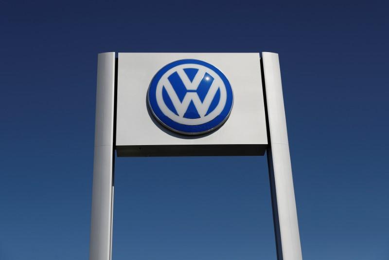 FILE PHOTO: A Volkswagen logo is seen at Serramonte Volkswagen in Colma, California