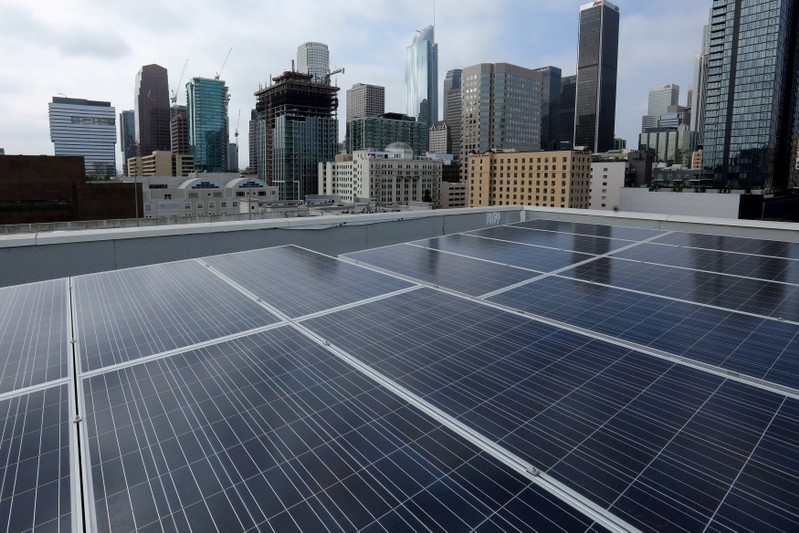 FILE PHOTO: Solar electric panels on residential bulding in down town Los Angeles