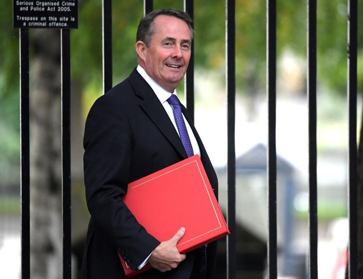 FILE PHOTO: Britain's International Trade Secretary, Liam Fox, arrives for a meeting in Downing Street in central London
