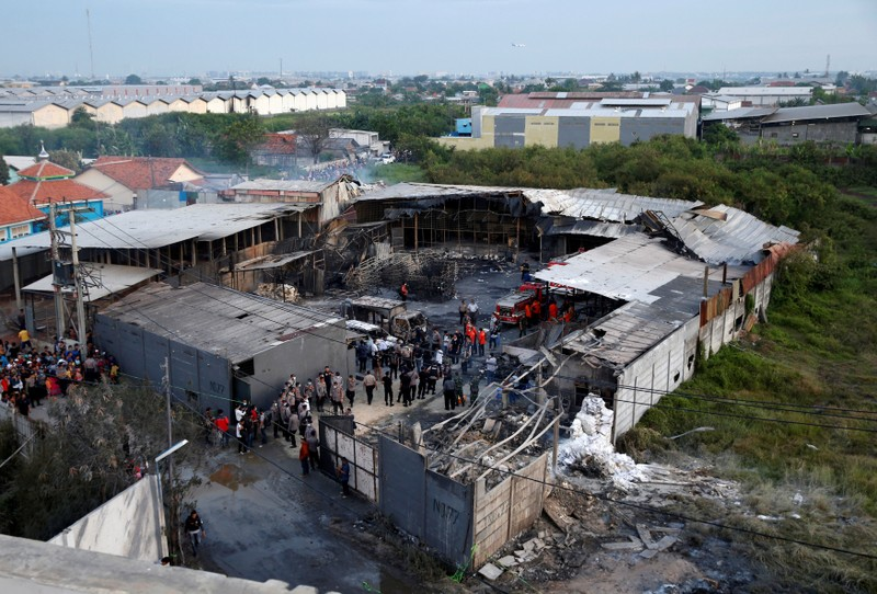 FILE PHOTO - An aerial view of an explosion at a fireworks factory at Kosambi village in Tangerang