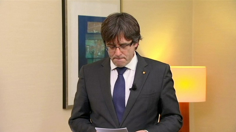 FILE PHOTO - Sacked Catalan President Carles Puigdemont makes a statement in Brussels