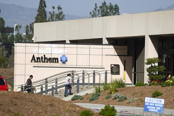 People enter the office building of health insurer Anthem in Los Angeles, California
