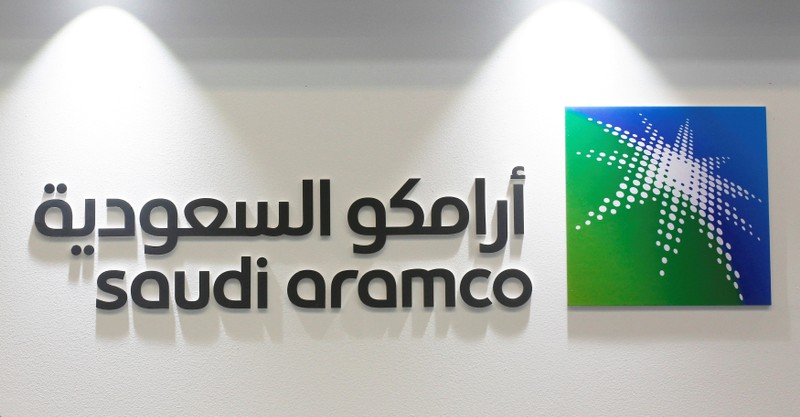 FILE PHOTO: Logo of Saudi Aramco is seen at the 20th Middle East Oil & Gas Show and Conference (MOES 2017) in Manama
