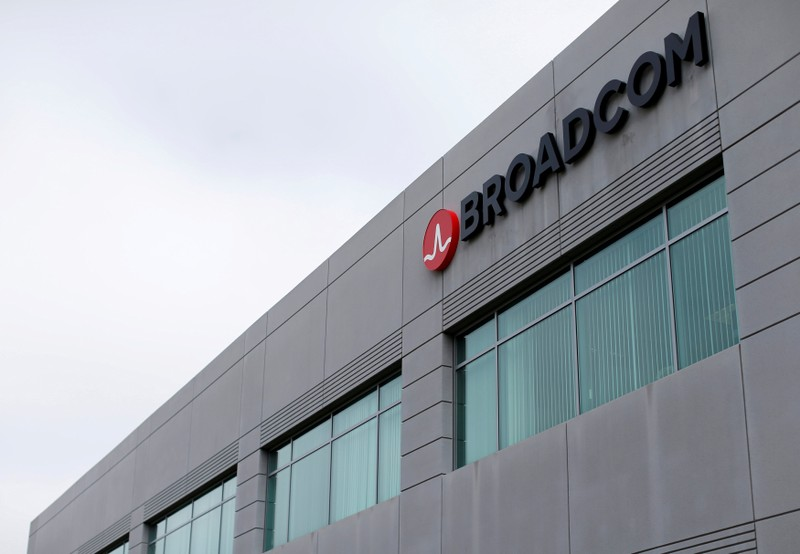 FILE PHOTO: Broadcom Limited company logo is pictured on an office building in Rancho Bernardo, California