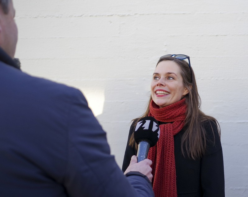 Left Green Movement candidate Jakobsdottir speaks to media after the voting during a snap parliamentary election in Reykjavik