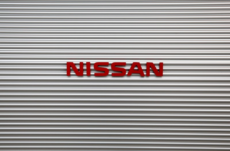 Logo of Nissan Motor Co is pictured at a showroom at the carmaker's headquarters in Yokohama