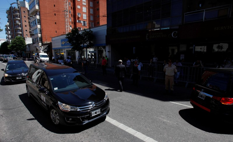 The funeral motorcade of four of the five Argentine citizens who were killed in the truck attack in New York on October, 31 arrive at the wake room in Rosario