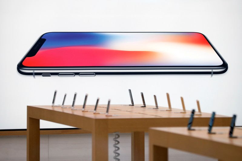 An iPhone X advertisement is pictured before its launch at the Apple store in Singapore