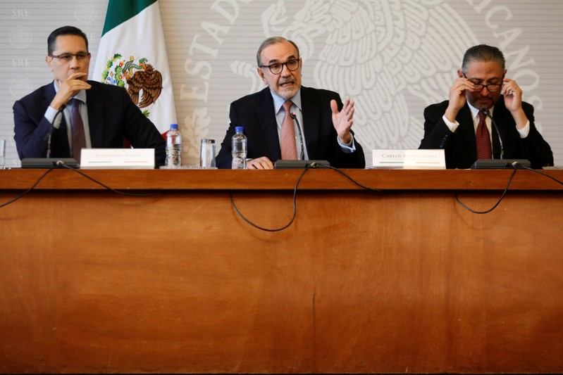 Carlos Manuel Sada Solana, Mexico's Deputy Foreign Minister for North America, speaks at a news conference about Ruben Cardenas Ramirez, a Mexican sentenced to death in the state of Texas, U.S., in Mexico City