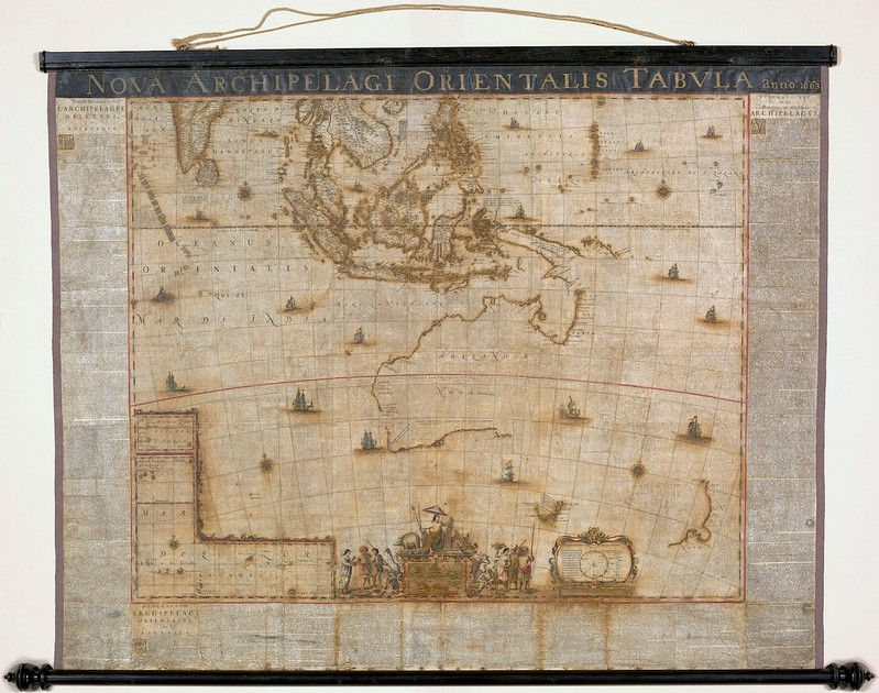 A supplied image shows the restored version of a rare 17th-century map, created by Joan Blaeu, chief cartographer for the Dutch East India Company in 1663, that documents Australia prior to the arrival of the British