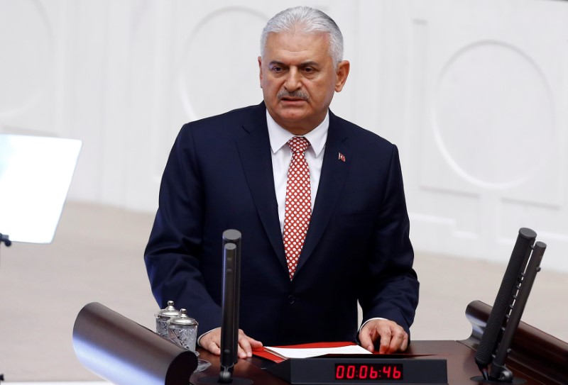 Turkey's PM Yildirim speaks during a special debate to commemorate the attempted coup in Ankara