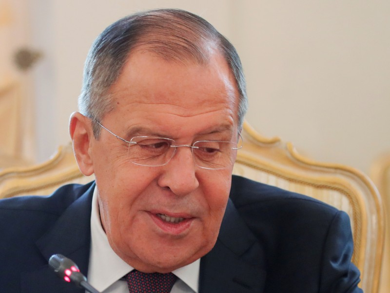 Russian Foreign Minister Sergei Lavrov attends a meeting with Thomas Greminger, the secretary general of the OSCE, in Moscow