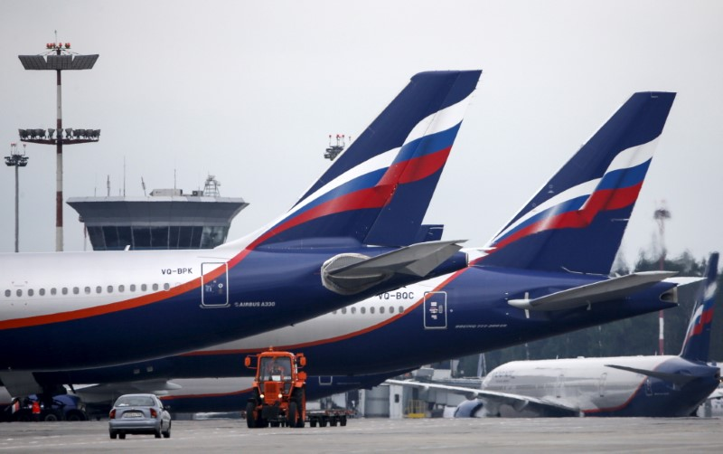 Aeroflot aircrafts are seen at Sheremetyevo International Airport outside Moscow