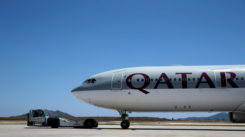 File photo of a Qatar Airways aircraft on a runway of the Eleftherios Venizelos International Airport in Athens