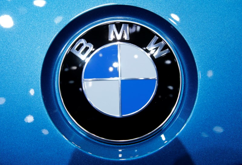 A BMW logo is seen on a car during the 87th International Motor Show at Palexpo in Geneva