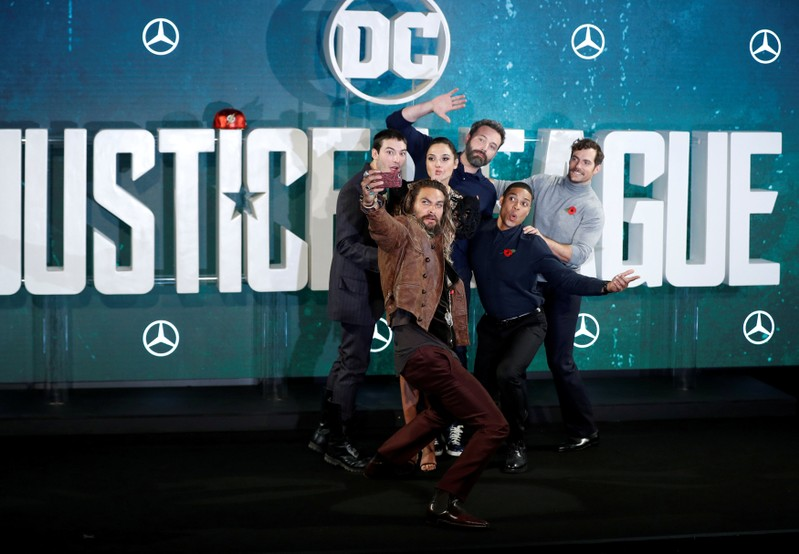 The cast poses for photographers at the Justice League photocall, at The College, in London