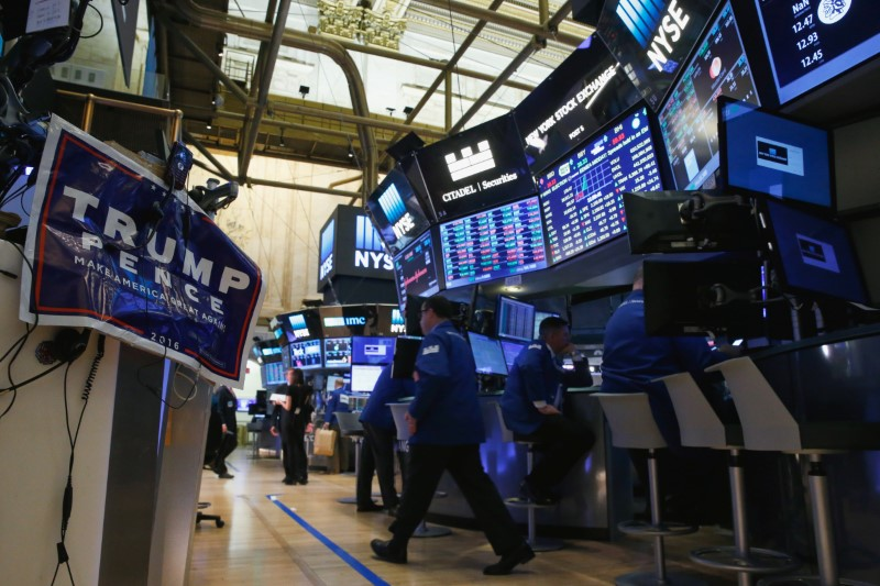 A poster is displayed on the floor NYSE the morning after the U.S. presidential election in New York
