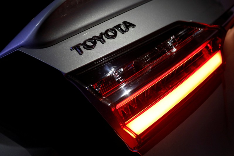 FILE PHOTO: The logo of Toyota Motor Corp. is seen on a company's Corolla car in Caracas