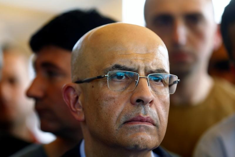 Imprisoned opposition lawmaker Enis Berberoglu of Republican People's Party (CHP) attends a funeral ceremony in Istanbul