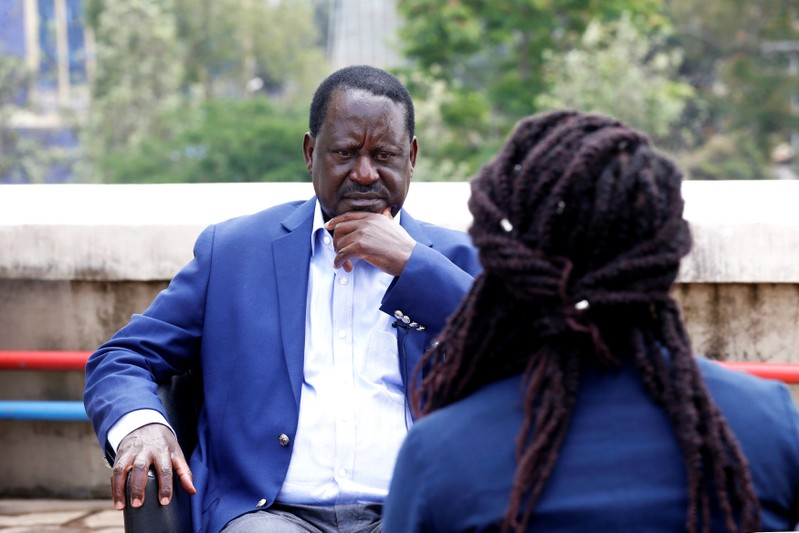 Kenyan opposition leader Raila Odinga of the National Super Alliance coalition speaks during an interview with Reuters in Nairobi
