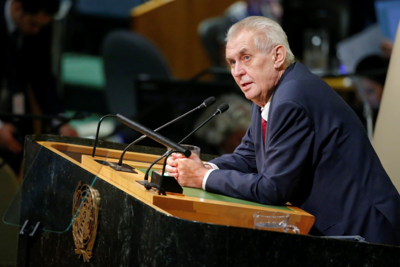 File photo: Czech Republic President Zeman addresses the 72nd United Nations General Assembly at U.N. headquarters in New York