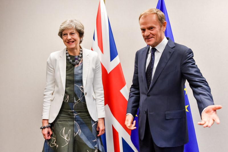 Britain's Prime Minister Theresa May and European Council President Donald Tusk pose before a bilateral meeting at a European Union leaders summit in Brussels