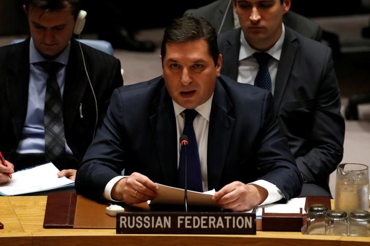 Russian Deputy Ambassador to the United Nations Vladimir Safronkov addresses the U.N. Security Council as it meets to discuss the recent ballistic missile launch by North Korea at U.N. headquarters in New York
